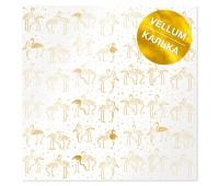 Лист кальки (веллум) с фольгированием Golden Flamingo 30,5х30,5 см