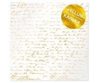 Лист кальки (веллум) с фольгированием Golden Text 30,5х30,5 см