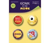 Набор скрап-фишек для скрапбукинга 4 шт, Ticket to the Moon