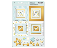 Рамки из чипборда с фольгированием золото Smile Baby Boy