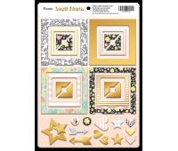 Рамки из чипборда с фольгированием золото Simple Flowers