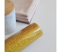 Термотрансферная пленка с глиттером, цвет золото, 10х25 см