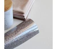 Термотрансферная пленка с глиттером, цвет серебро с голограммой,  10х25 см