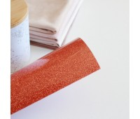 Термотрансферная пленка с глиттером, цвет грейпфрут, 10х25 см