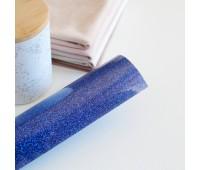Термотрансферная пленка с глиттером, цвет королевский синий, 10х25 см